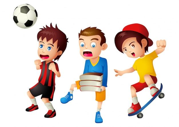 Kinderen met hun activiteiten Premium Vector