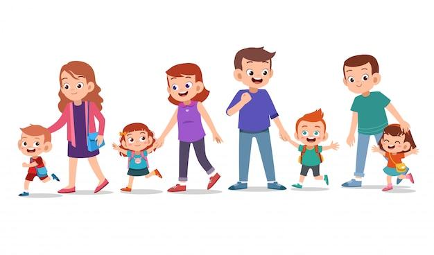 Kinderen met ouderbundel Premium Vector