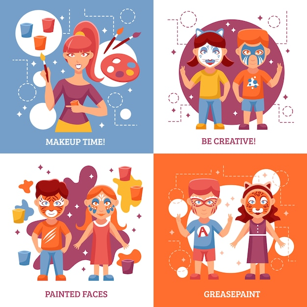 Kinderen met painted faces Gratis Vector