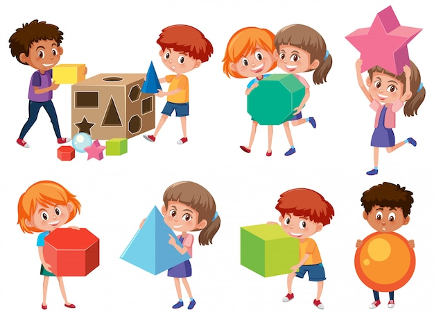 Kinderen met wiskundige vorm Premium Vector
