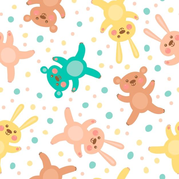 Kinderen naadloos patroon met schattige beren en hazen. Premium Vector