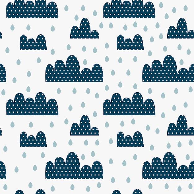 Kinderen naadloos patroon met wolken in stippen, druppels en regen. Premium Vector