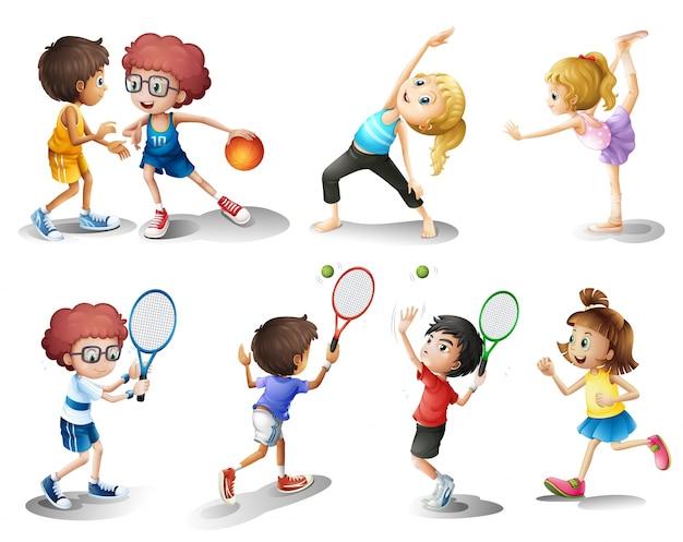 Kinderen oefenen en spelen verschillende sporten Premium Vector
