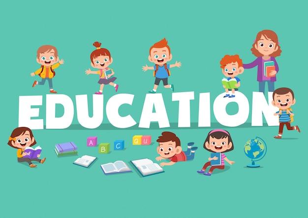 Kinderen onderwijs poster illustratie Premium Vector