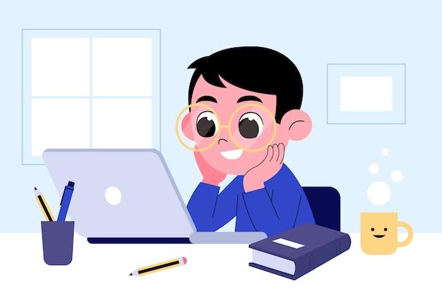 Kinderen online lessen concept Gratis Vector