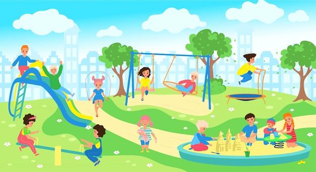 Kinderen op de speelplaats in stadspark, gelukkige kinderen buiten spelen, illustratie Premium Vector