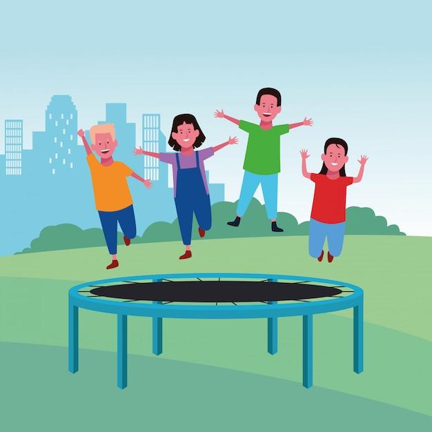 Kinderen op de speelplaats Premium Vector