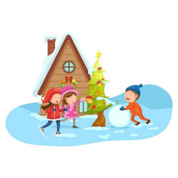 Kinderen op een winterlandschap Premium Vector