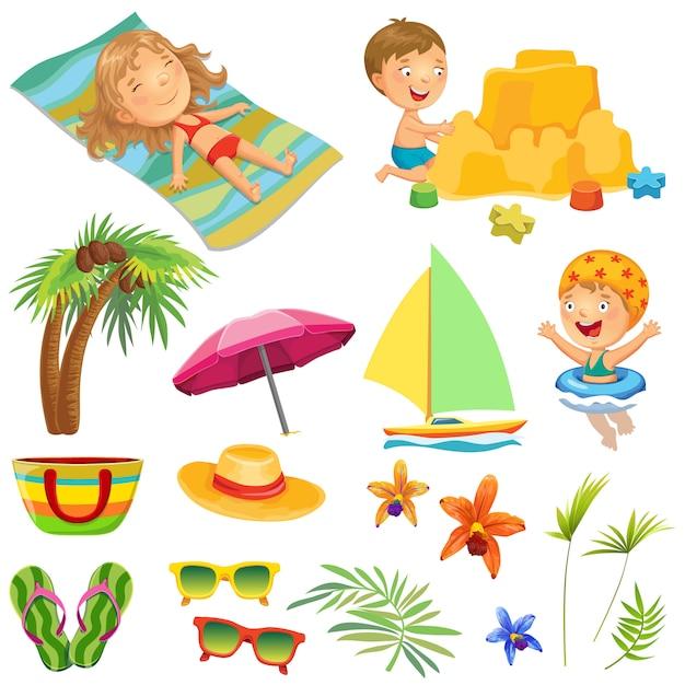 Kinderen op het strand. verzameling. Premium Vector