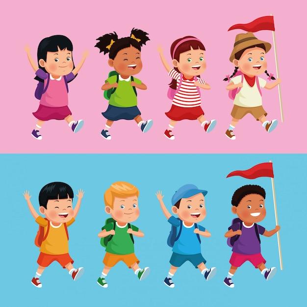 Kinderen op school excursie Gratis Vector