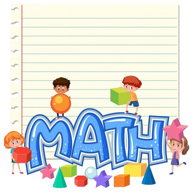 Kinderen op wiskunde notitie sjabloon Premium Vector