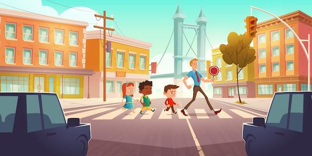 Kinderen oversteken stad kruispunt met verkeerslichten Gratis Vector