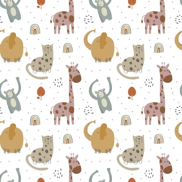 Kinderen patroon met verschillende schattige dieren Premium Vector