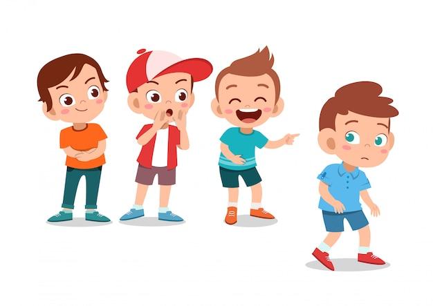 Kinderen pesten vriend Premium Vector