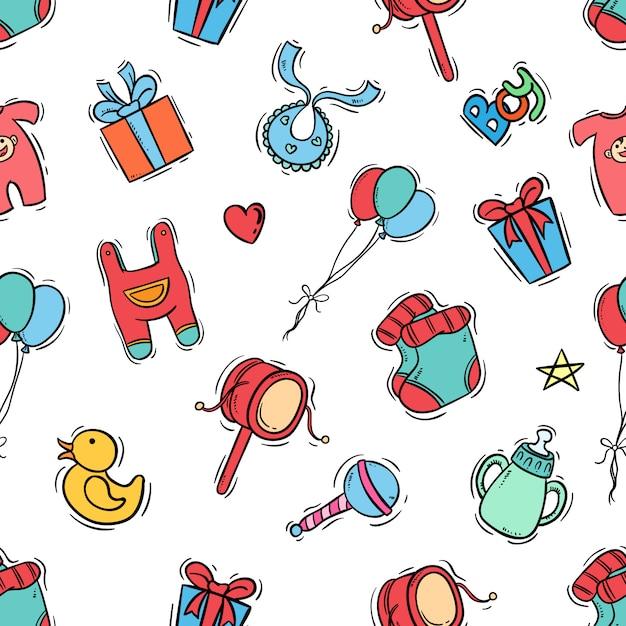 Kinderen pictogrammen in naadloos patroon met gekleurde doodle stijl Premium Vector