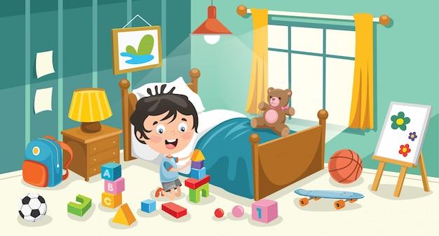 Kinderen plezier in een kamer Premium Vector