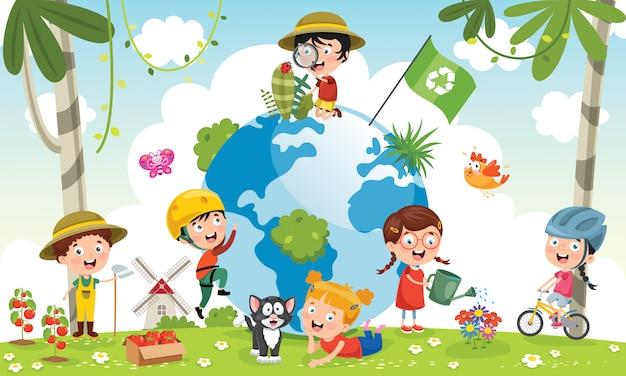 Kinderen plezier met de aarde Premium Vector