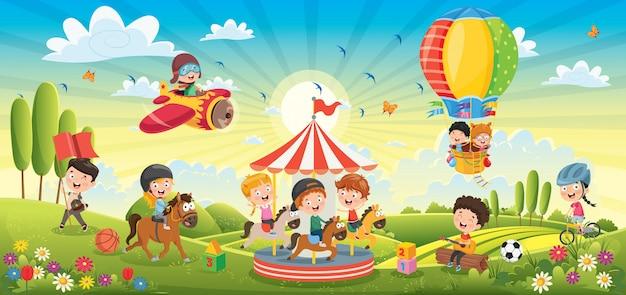 Kinderen plezier op lente landschap Premium Vector