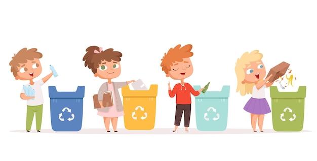 Kinderen recyclen afval. natuur, ecologie, veilige omgeving, bescherming, gezonde recyclingprocessen, stripfiguren. Premium Vector