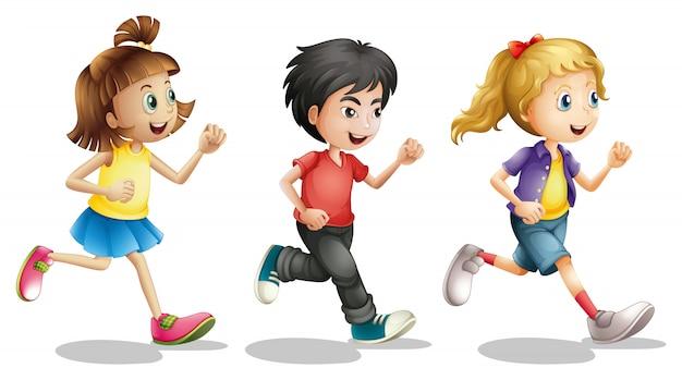 Kinderen rennen | Gratis Vector