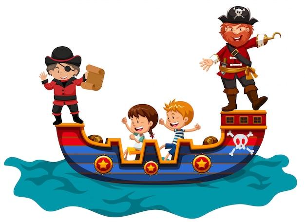 Kinderen rijden op vikingschip Gratis Vector