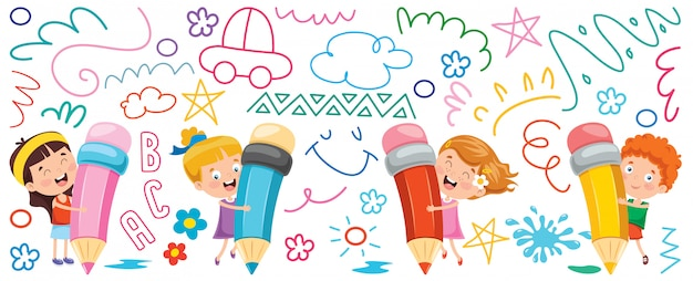 Kinderen schilderen banner Premium Vector