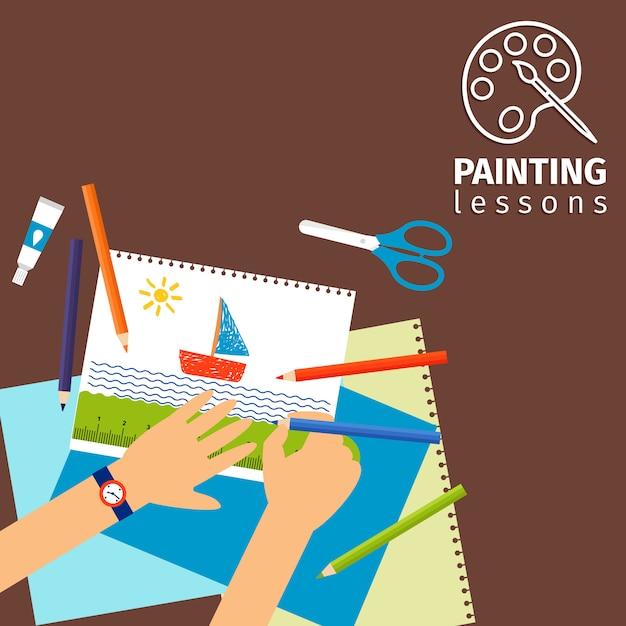 Kinderen schilderen lessen Premium Vector