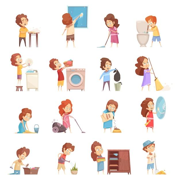 Kinderen schoonmaken cartoon icons set Gratis Vector