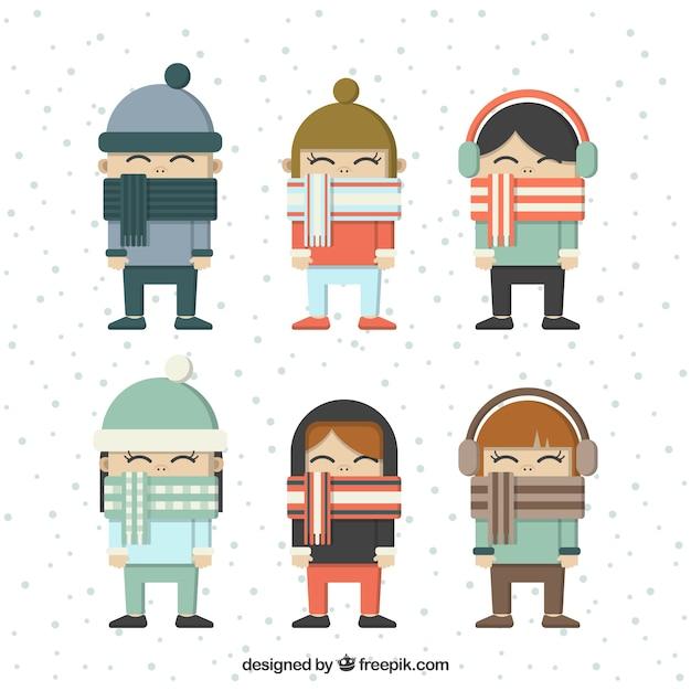 Kinderen set met mooie sjaals in plat design Premium Vector