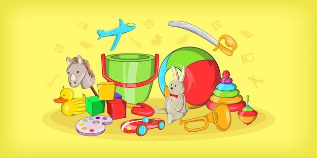 Kinderen speelgoed horizontale achtergrond, cartoon stijl Premium Vector
