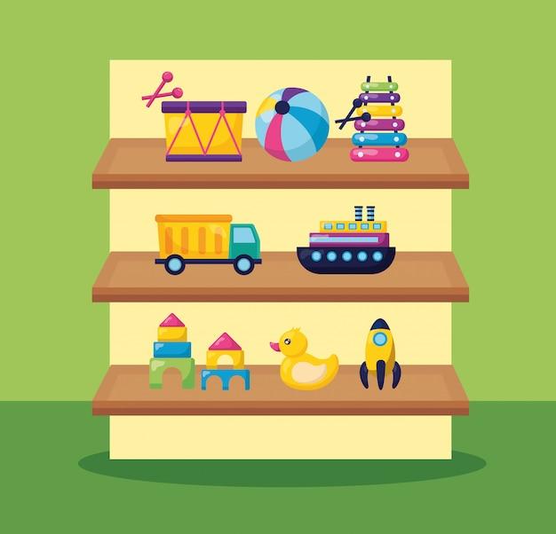 Kinderen speelgoed illustratie Gratis Vector