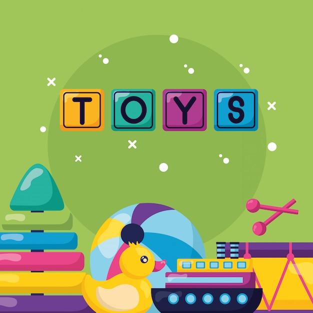 Kinderen speelgoed ontwerp Gratis Vector