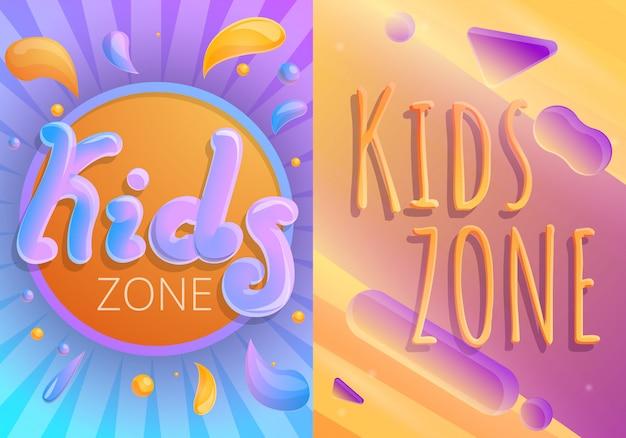 Kinderen speelplaats illustratie set, cartoon stijl Premium Vector