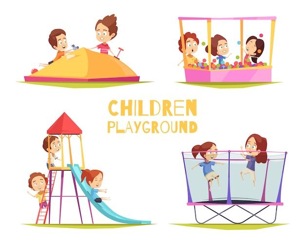 Kinderen speelplaats ontwerpconcept Gratis Vector