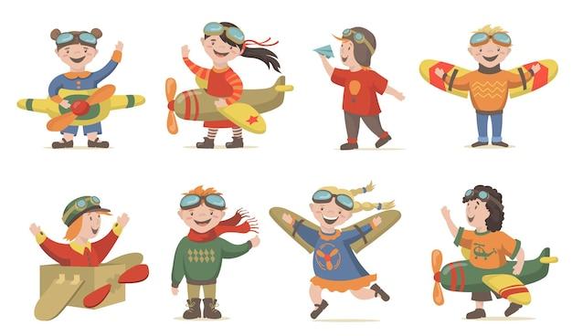 Kinderen spelen air crew set Gratis Vector