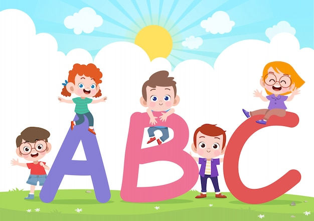Kinderen spelen alfabet vectorillustratie Premium Vector