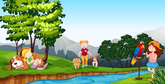 Kinderen spelen bij de rivier Gratis Vector