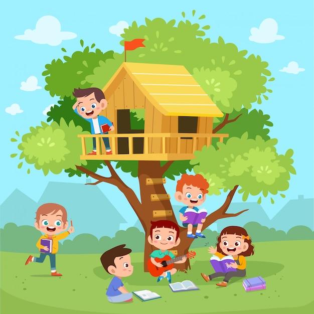 Kinderen spelen boomhut Premium Vector