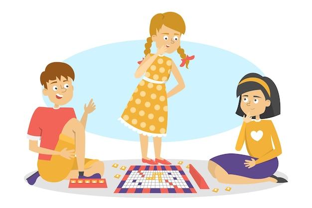Kinderen spelen bordspel. vrienden hebben plezier. meisjes en jongen spelen op de vloer. illustratie in cartoon-stijl Premium Vector