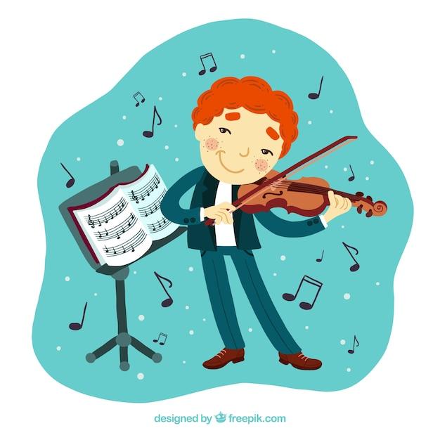 Kinderen spelen een viool met een muziekstandaard Gratis Vector