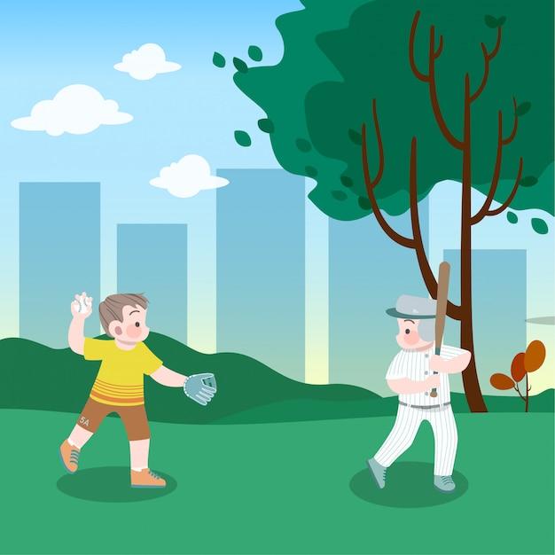 Kinderen spelen honkbal in het park vectorillustratie Premium Vector