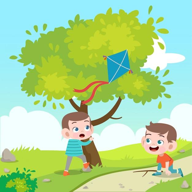 Kinderen spelen kite vectorillustratie Premium Vector