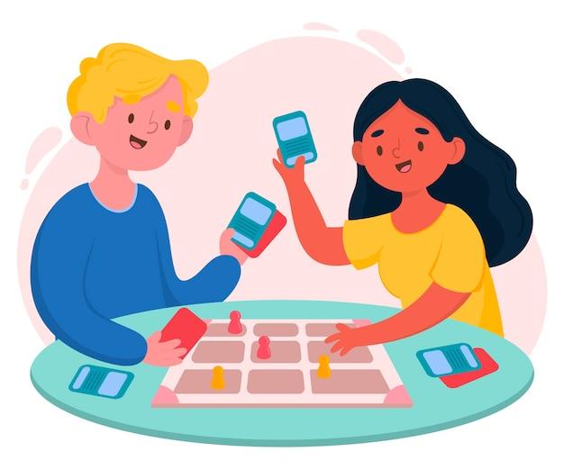 Kinderen spelen ludo-spel Premium Vector