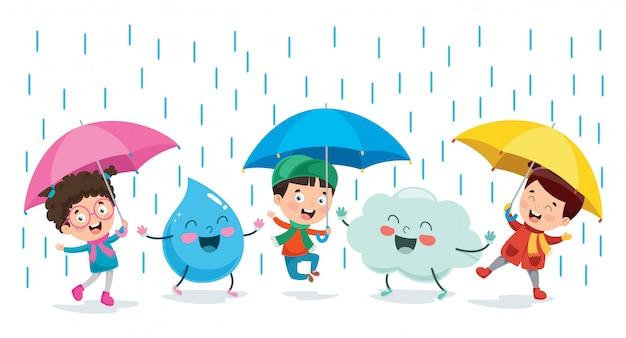 Kinderen spelen met cloud en rain drop karakter Premium Vector
