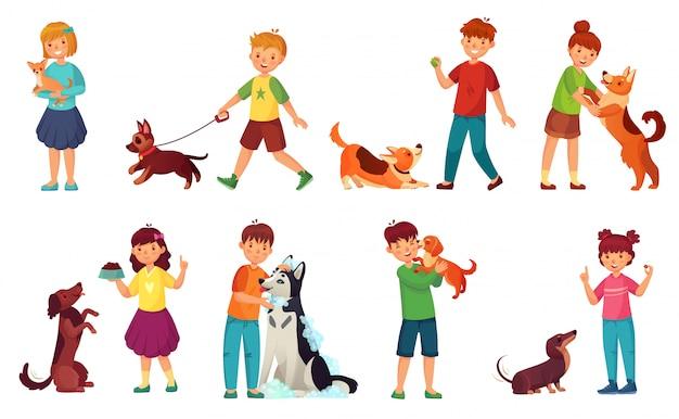 Kinderen spelen met honden. kindervoedingshond, huisdierenzorg en jong geitje die met leuke vector de illustratiereeks lopen van het puppybeeldverhaal Premium Vector