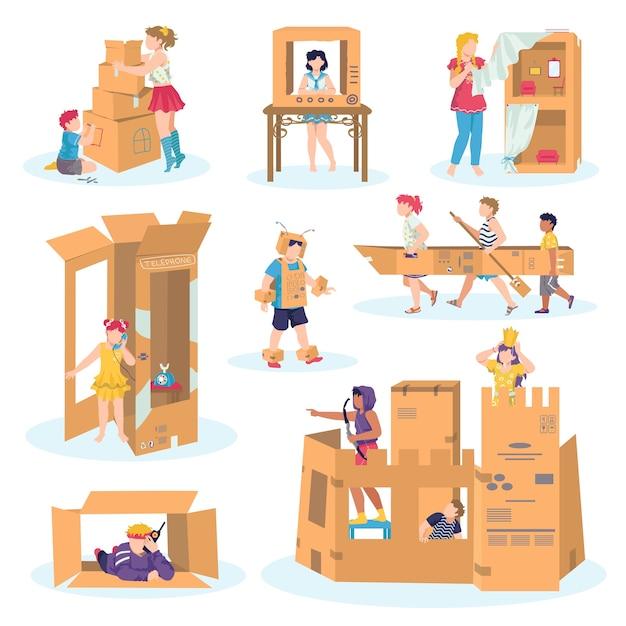 Kinderen spelen met kartonnen set van illustraties op wit. jongen in middeleeuws ridderkostuum en kasteel gemaakt van karton, meisjesspel, fantasiehuisjes van karton, boot, auto. verbeelding. Premium Vector