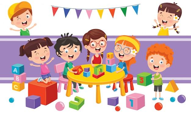 Kinderen spelen met verschillende speelgoed Premium Vector