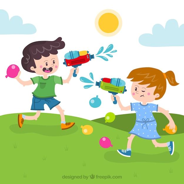 Kinderen spelen met waterpistolen in het deel | Gratis Vector