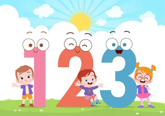 Kinderen spelen nummer vectorillustratie Premium Vector