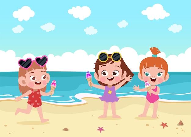 Kinderen spelen op het strand illustratie Premium Vector